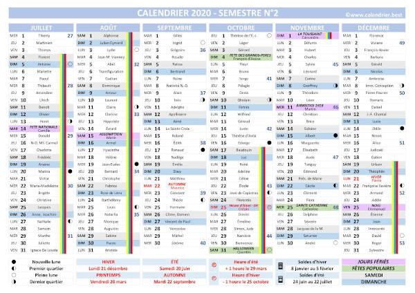 Calendrier 2020 complet : fêtes, saints, vacances   Calendrier.best