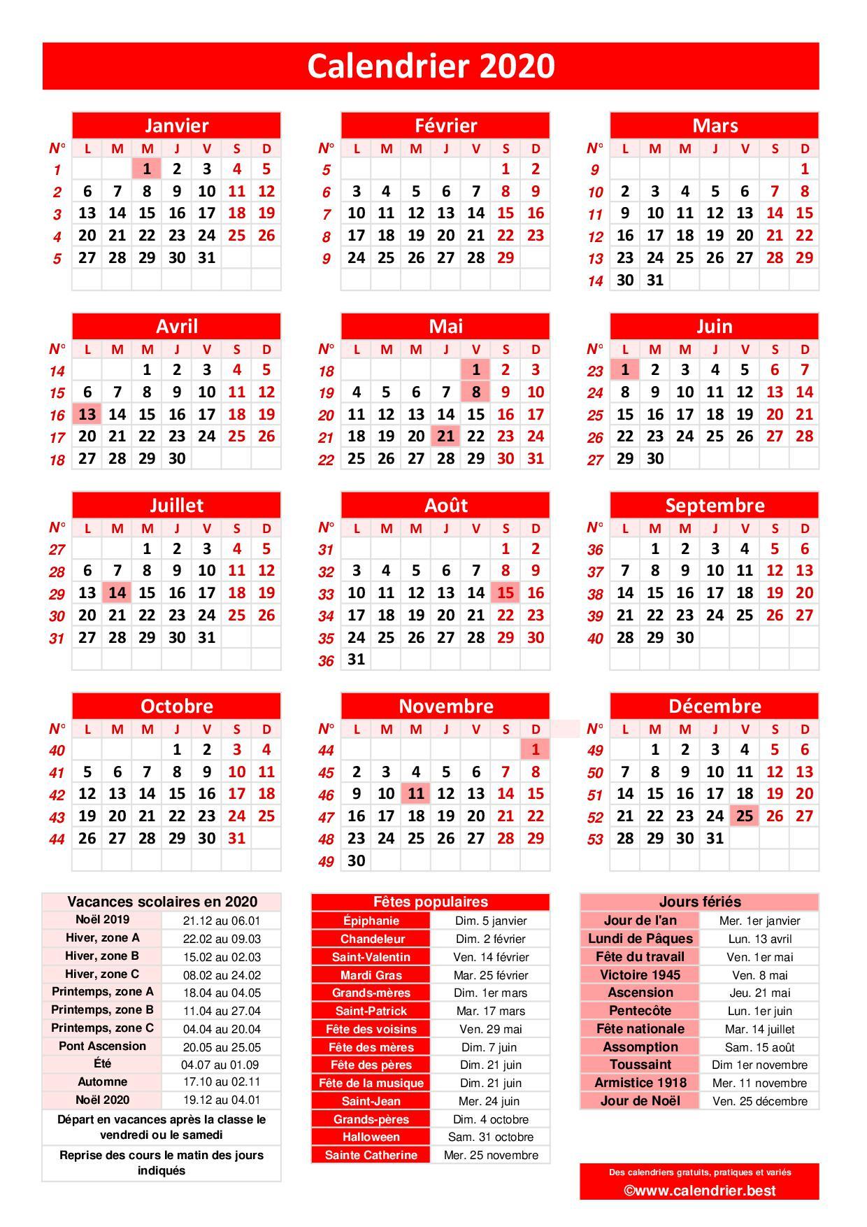Calendrier 2020 avec jours fériés et dates utiles à imprimer