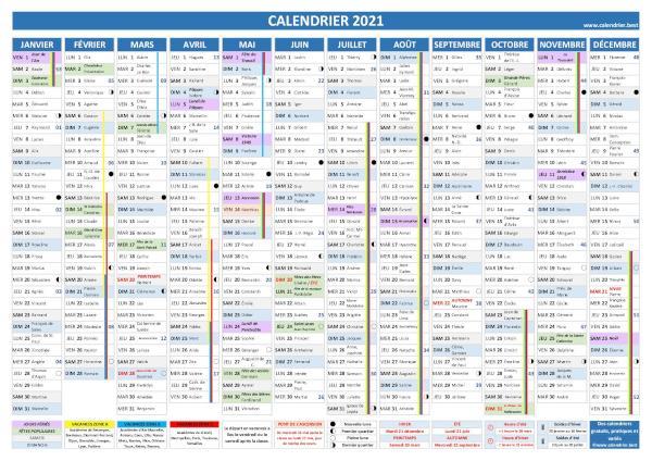 Calendrier 2021 complet : fêtes, saints, vacances   Calendrier.best