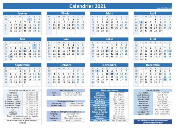 Calendrier 2021 à imprimer   Calendrier.best