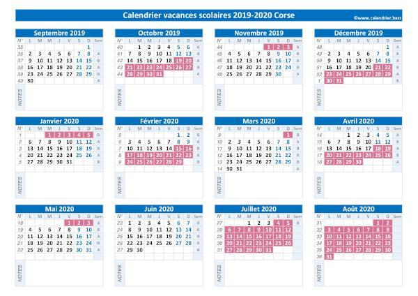 Calendrier Scolaire Corse 2021 Vacances scolaires Corse : calendrier 2019 2020 et 2020 2021