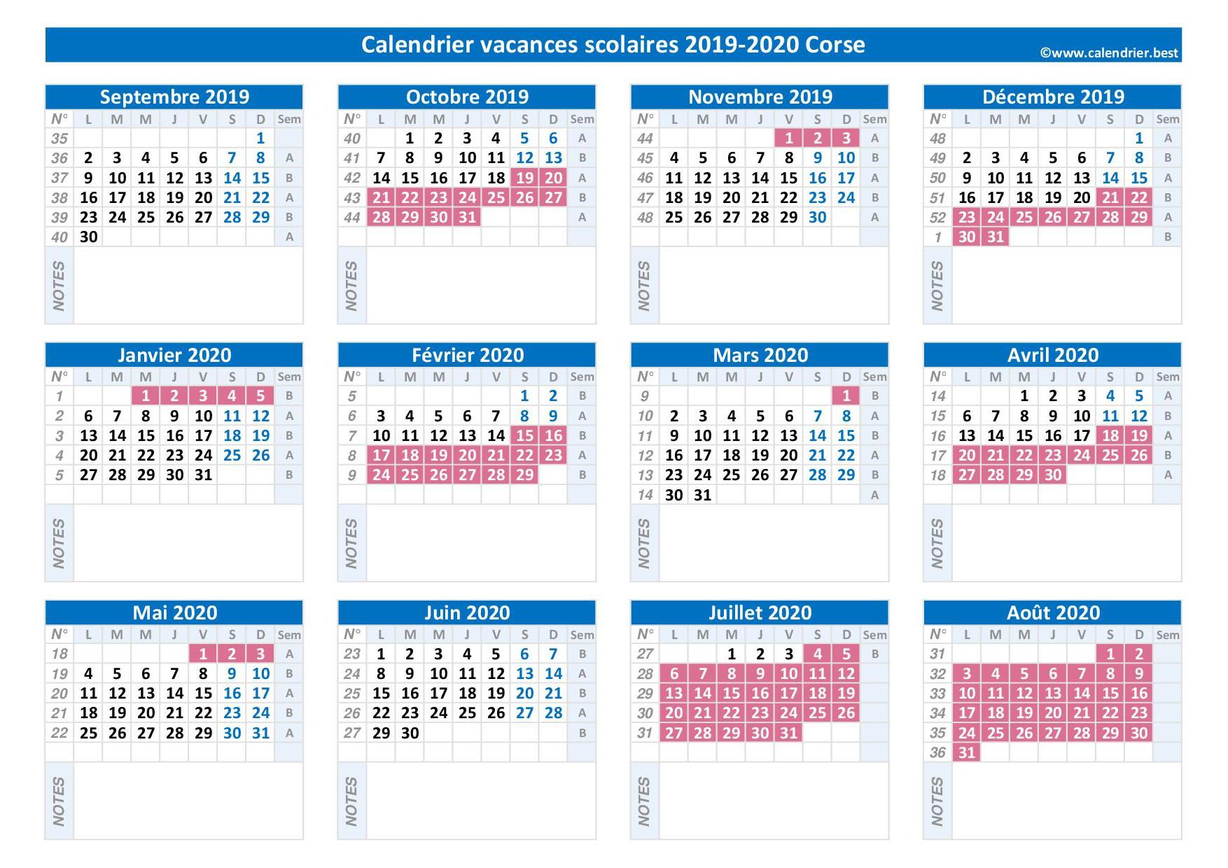Vacances scolaires Corse : calendrier 2019 2020 et 2020 2021