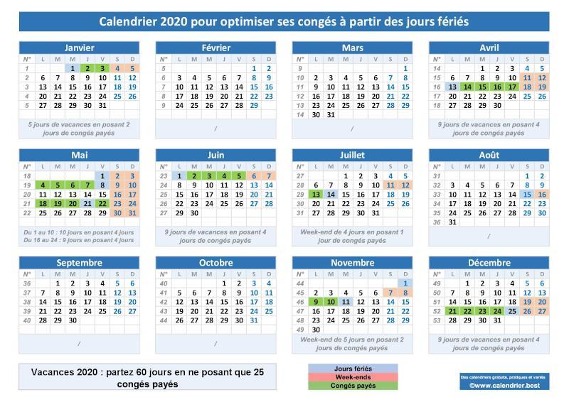 Calendrier Paye 2021 Calendrier 2020 pour optimiser ses congés