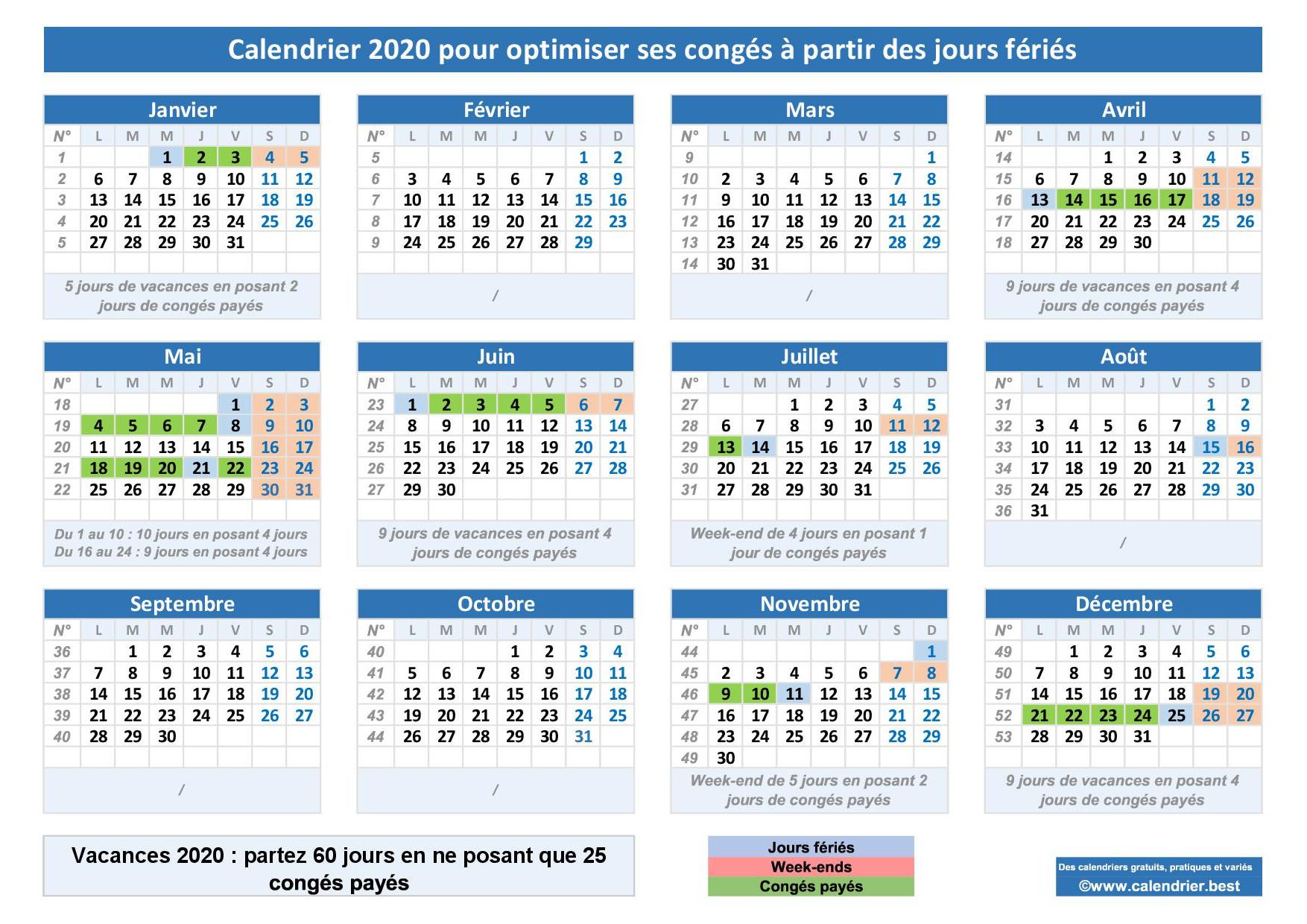Calendrier 2020 pour optimiser ses congés