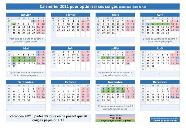 Calendrier Paye 2022 Calendrier pour bien placer et optimiser ses congés 2021