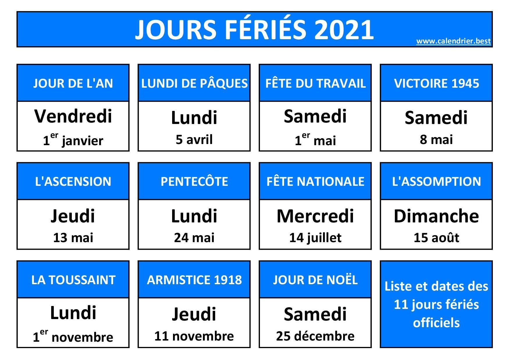 Jours fériés 2021 en France