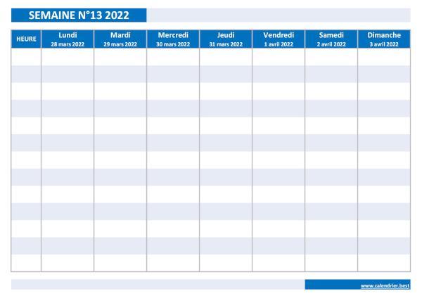 Calendrier Semainier 2022 à Imprimer Semaine 13 2022 : dates, calendrier et planning hebdomadaire à