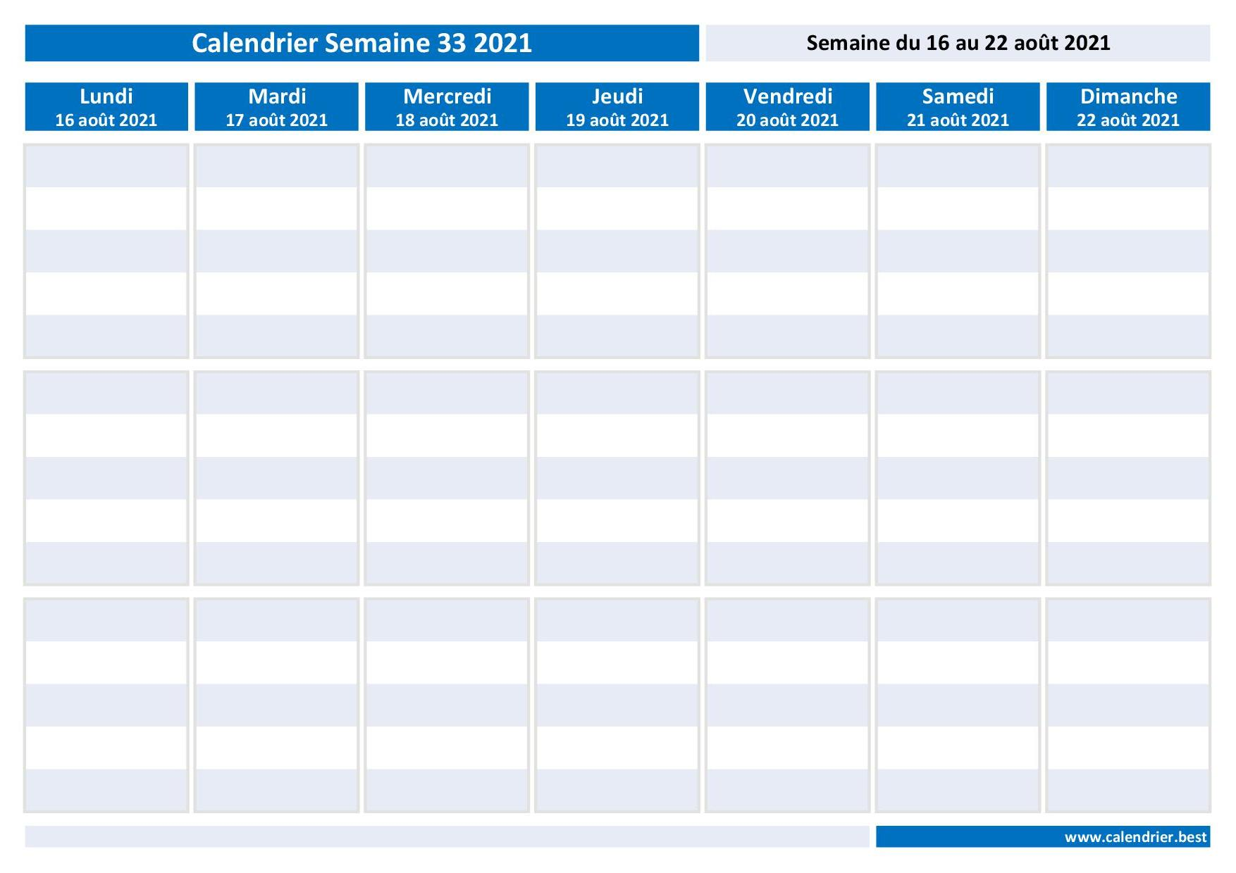 Semaine 33 2021 : dates, calendrier et planning  Calendrier.best