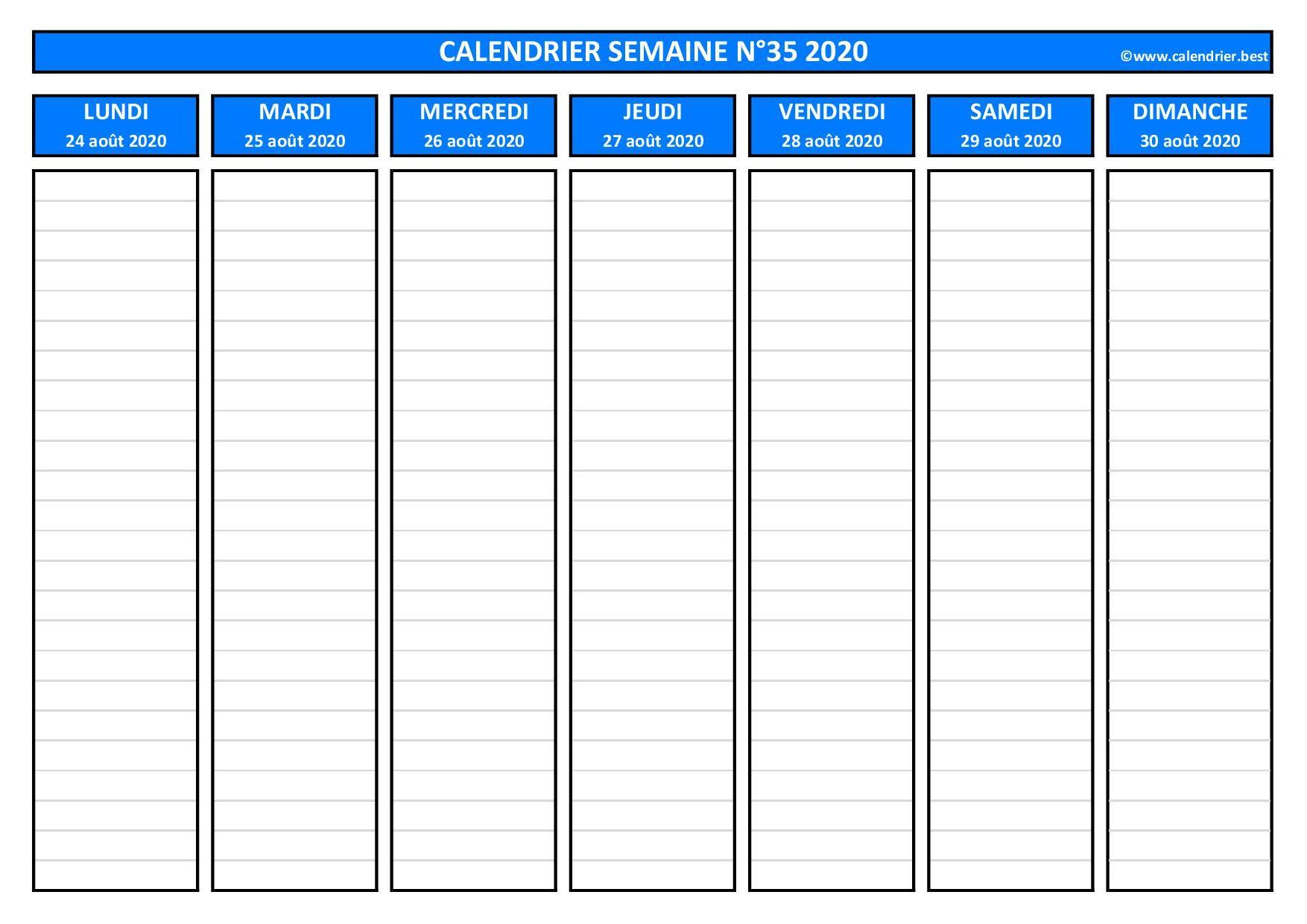 Semaine 35 2020 : dates, calendrier et planning  Calendrier.best