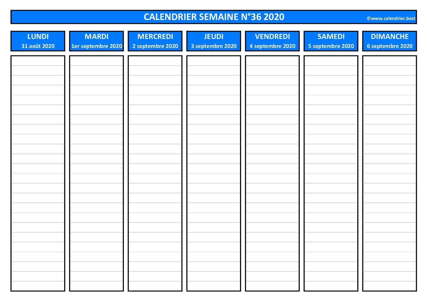 Semaine 36 2020 : dates, calendrier et planning  Calendrier.best