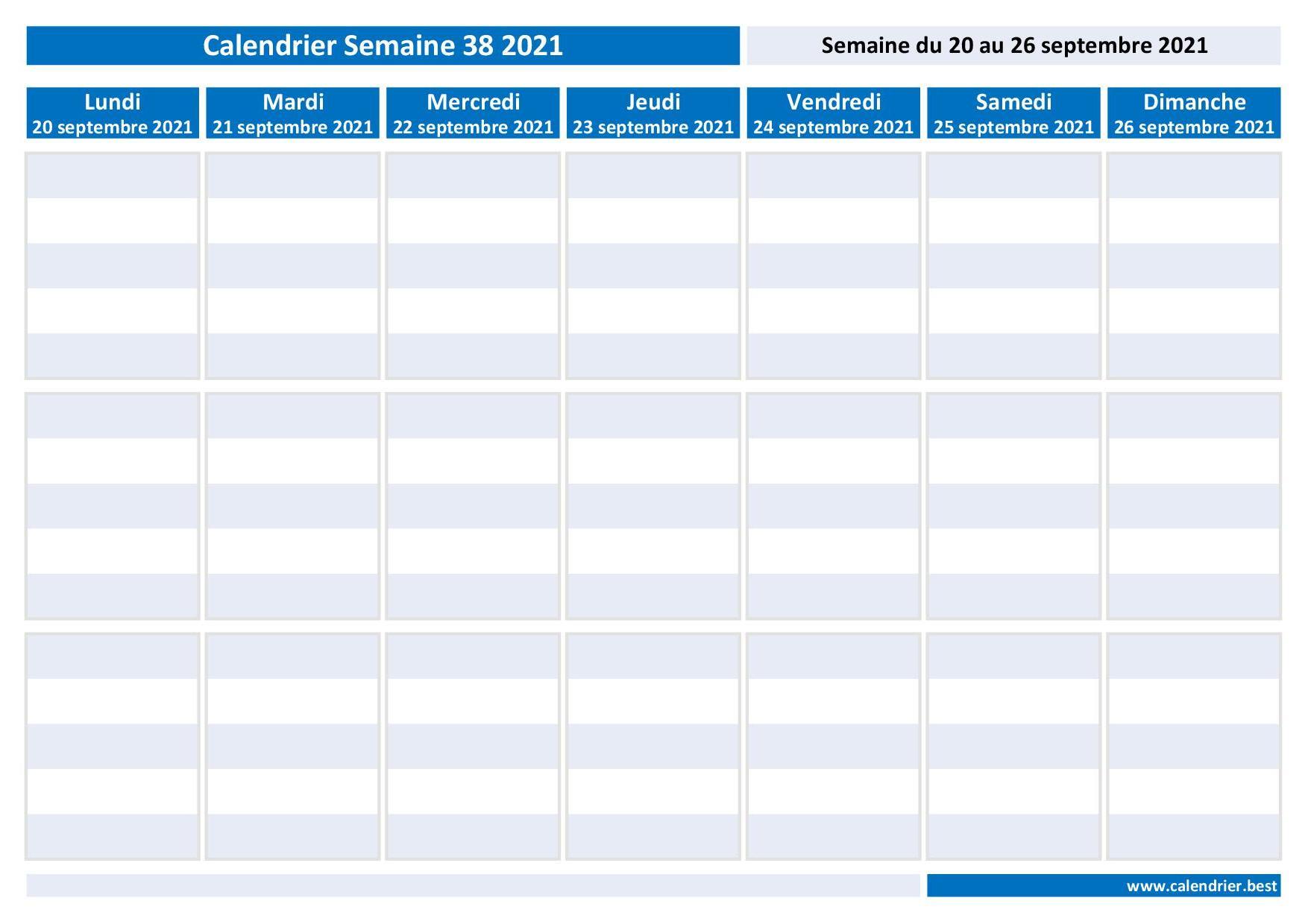 Semaine 38 2021 : dates, calendrier et planning  Calendrier.best