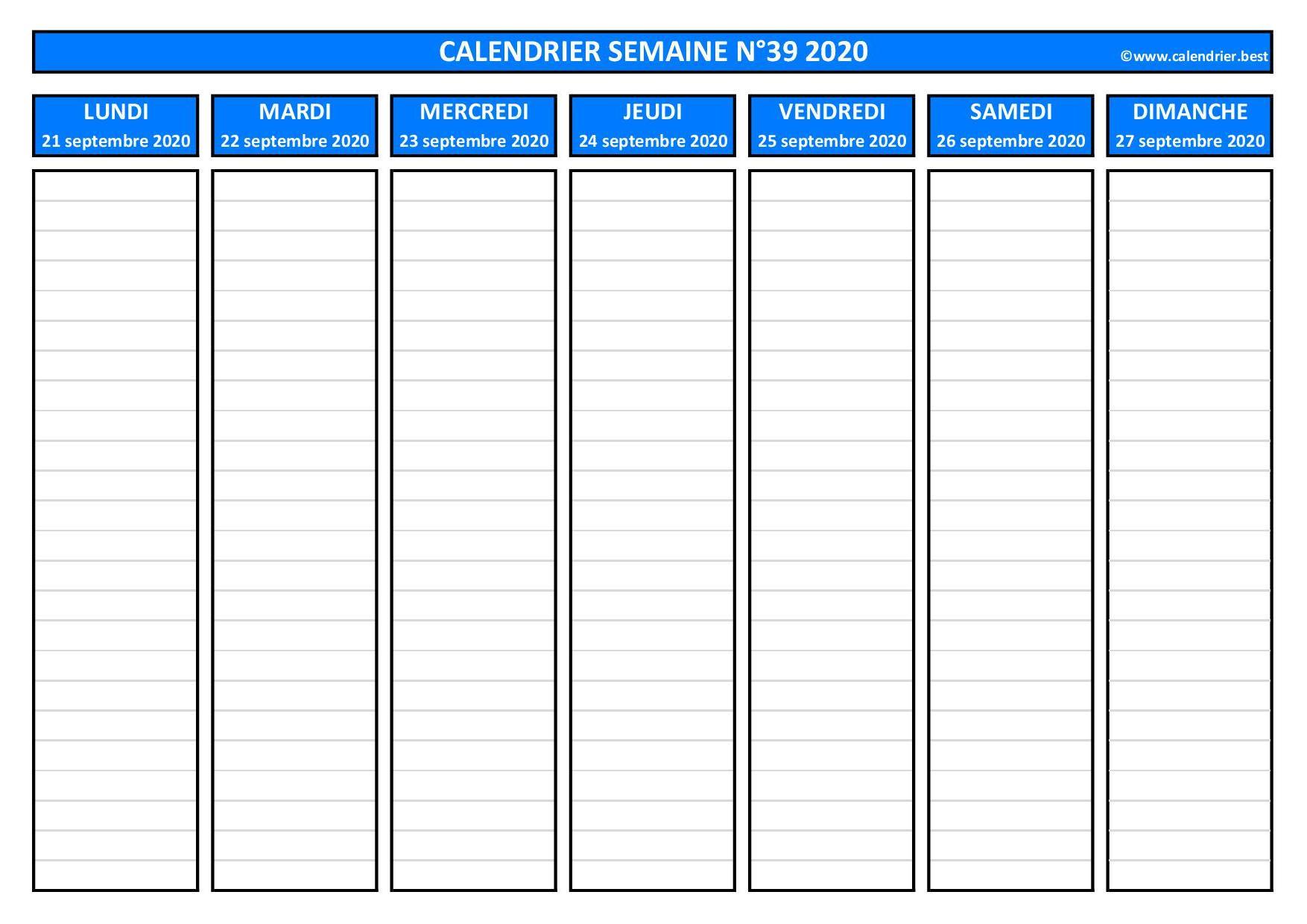 Semaine 39 2020 : dates, calendrier et planning  Calendrier.best