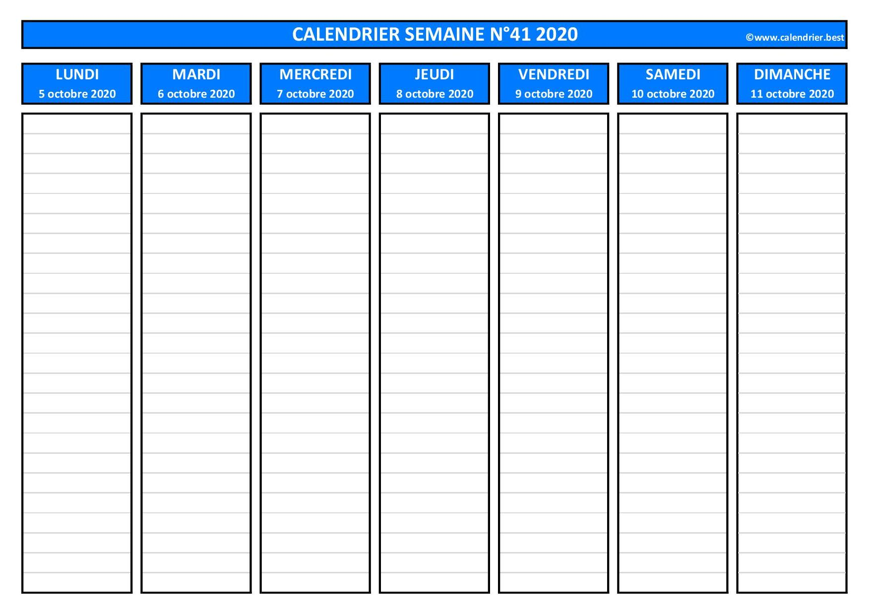 Semaine 41 2020 : dates, calendrier et planning  Calendrier.best