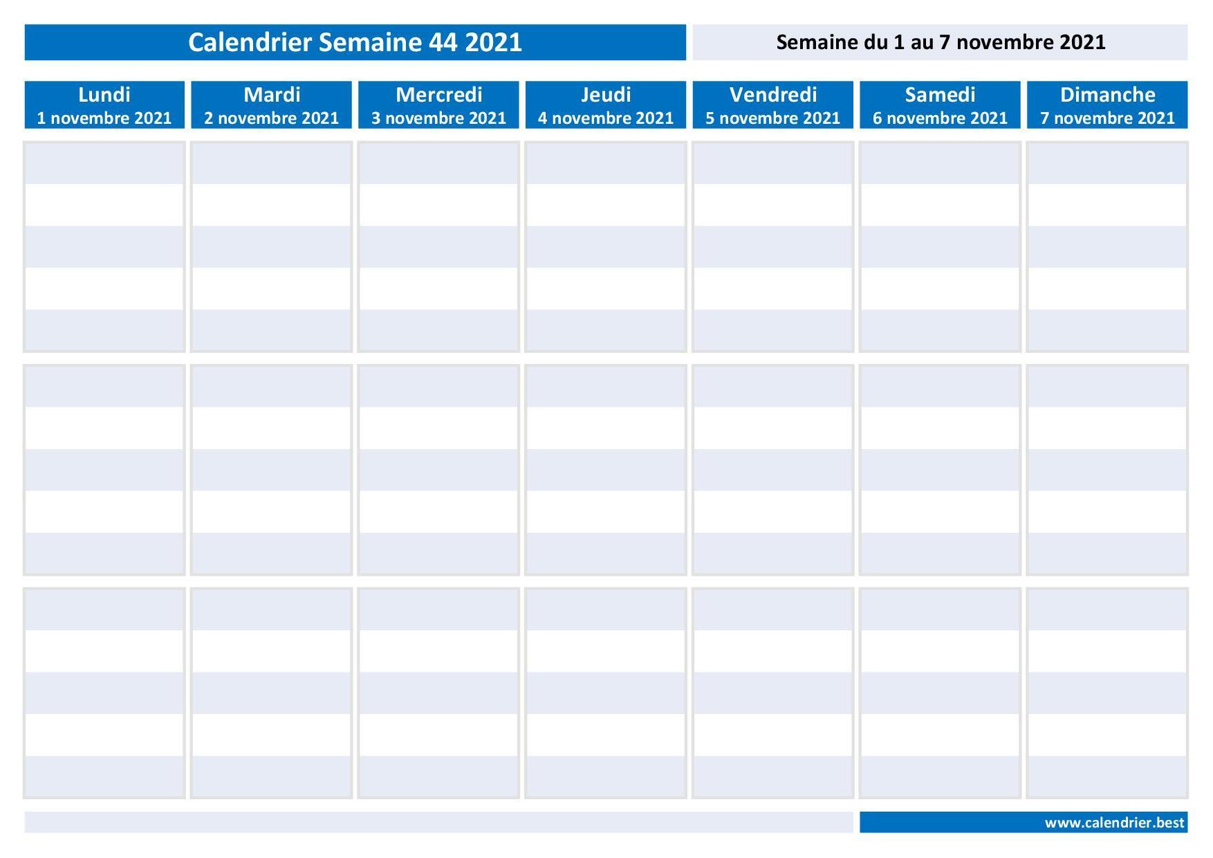 Semaine 44 2021 : dates, calendrier et planning hebdomadaire à