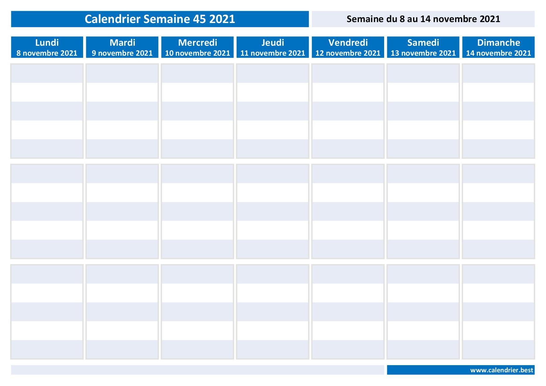 Semaine 45 2021 : dates, calendrier et planning hebdomadaire à