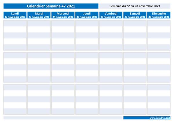 Semaine 47 2021 : dates, calendrier et planning  Calendrier.best