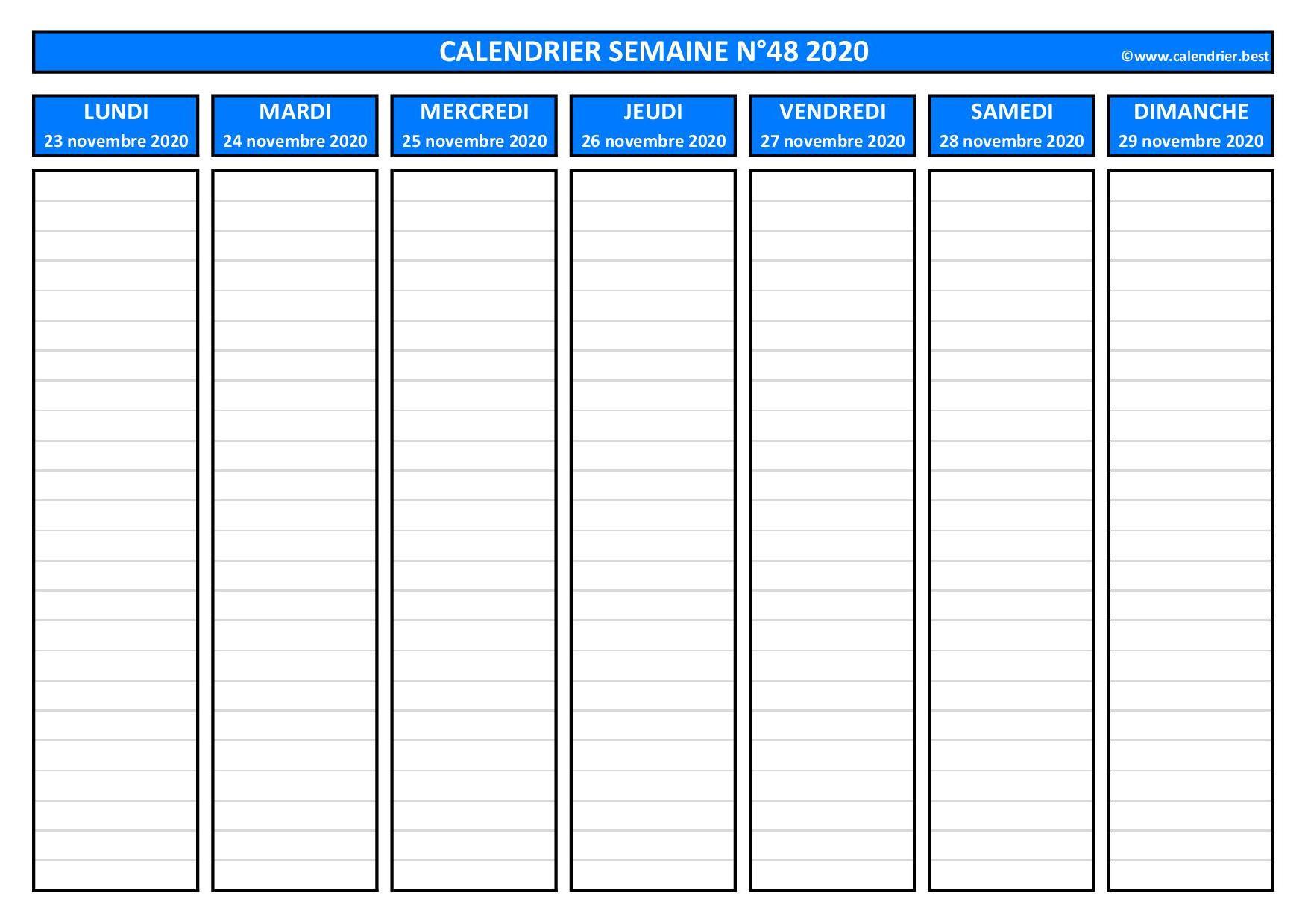 Semaine 48 2020 : dates, calendrier et planning  Calendrier.best