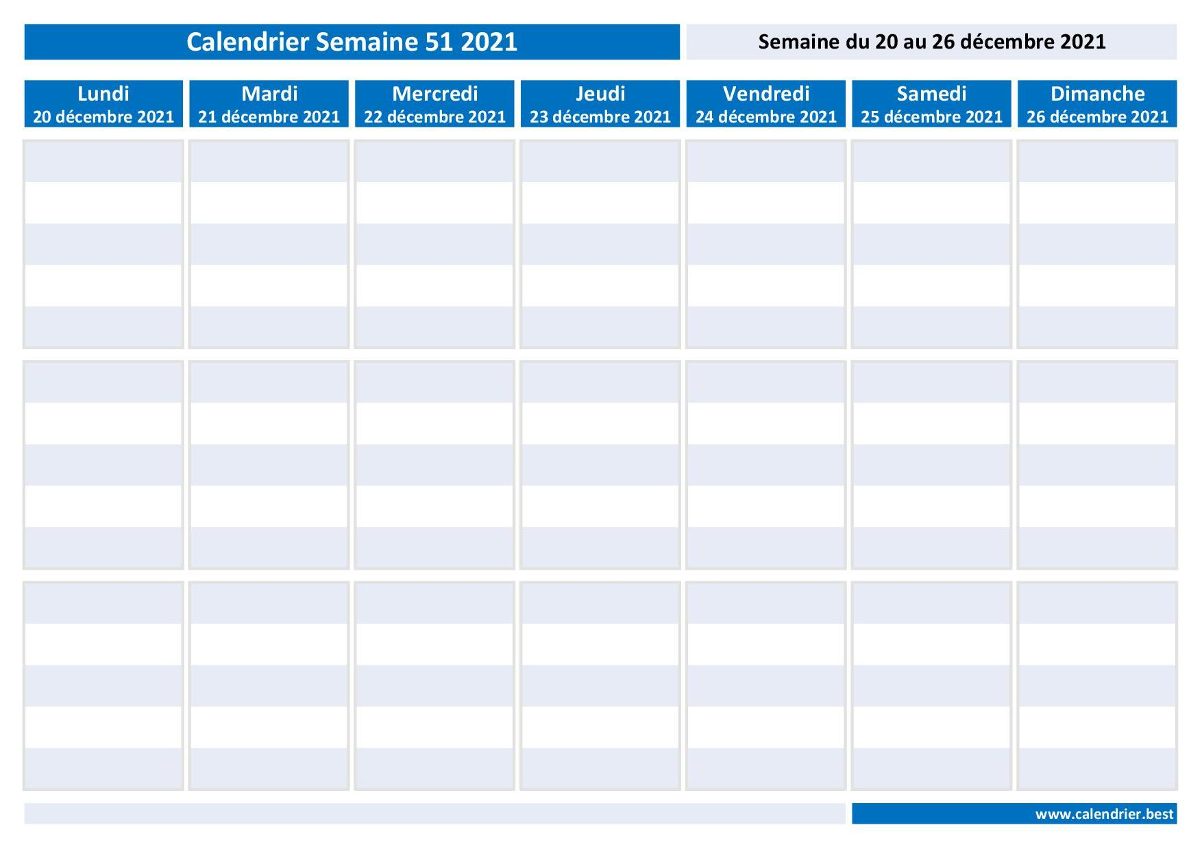 Semaine 51 2021 : dates, calendrier et planning  Calendrier.best