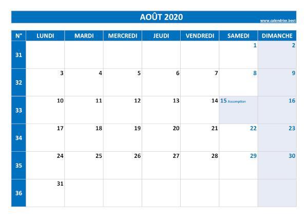 Calendrier Du Mois Daoût 2022 Calendrier du mois d'août 2020 à consulter ou imprimer  Calendrier