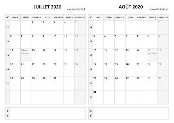 Calendrier Juillet et Août 2020 à imprimer  Calendrier.best