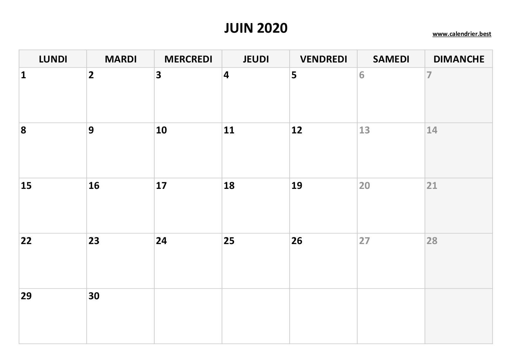 Calendrier Juin 2020 A Consulter Ou Imprimer Calendrier Best