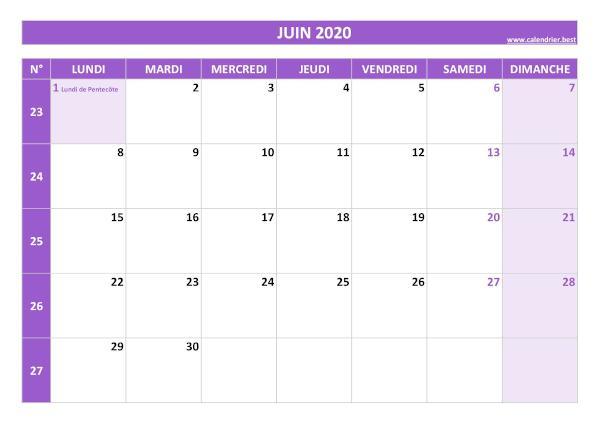 Calendrier Juin 2020 à consulter ou imprimer  Calendrier.best