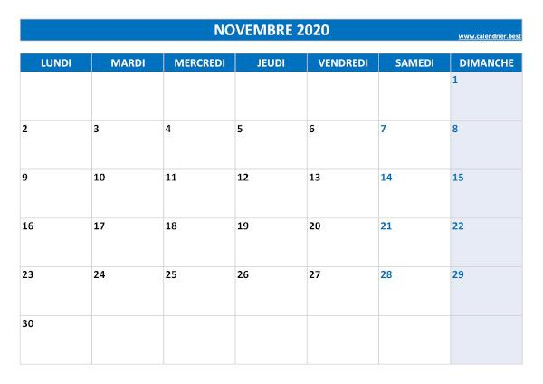 Calendrier Novembre 2020 A Consulter Ou Imprimer Calendrier Best