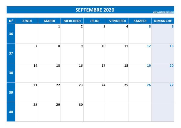 Calendrier Septembre 2020 à consulter ou imprimer  Calendrier.best