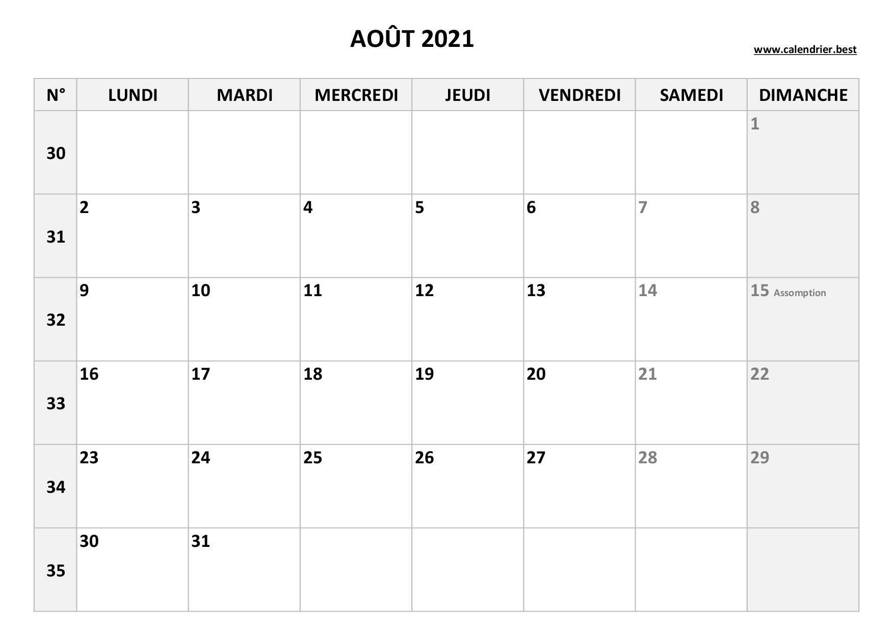 Calendrier Du Mois Daoût 2022 Calendrier Août 2021 à consulter ou imprimer  Calendrier.best