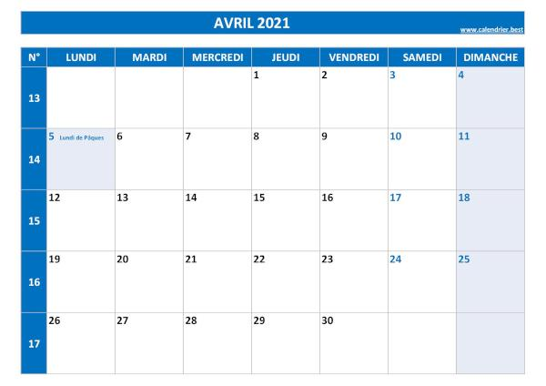 Calendrier Mois Davril 2021 Calendrier Avril 2021 à consulter ou imprimer  Calendrier.best