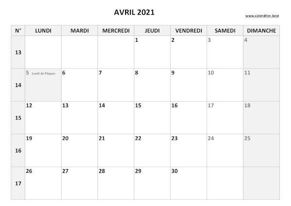 Calendrier Avril 2021 à consulter ou imprimer  Calendrier.best