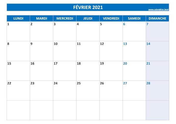Calendrier Février 2021 à consulter ou imprimer  Calendrier.best