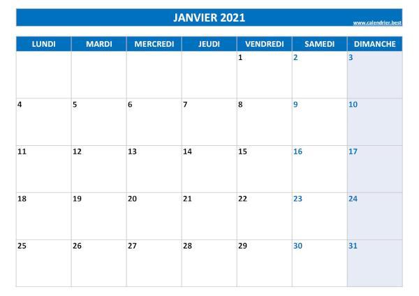 Calendrier 2021 mensuel à imprimer