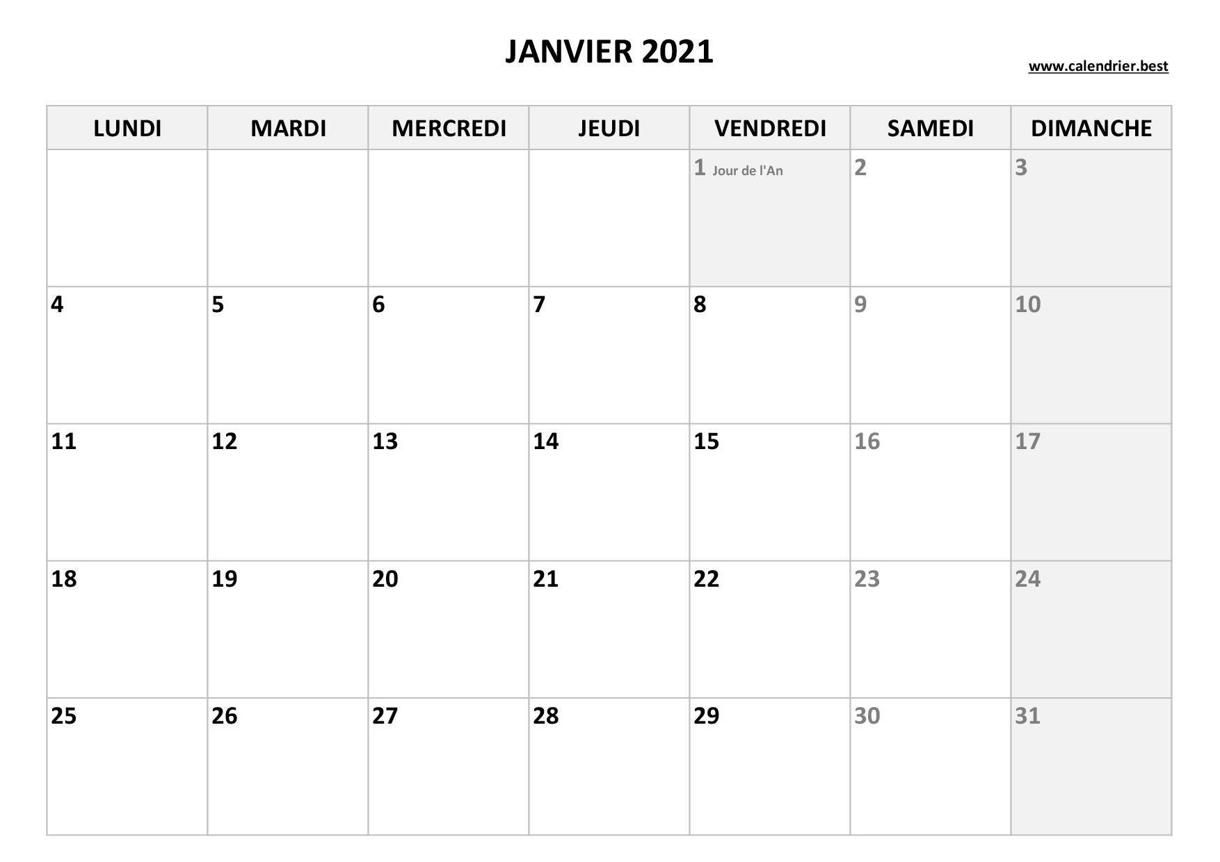 Calendrier Janvier 2021 à consulter ou imprimer  Calendrier.best