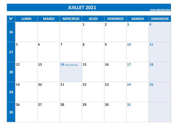 Calendrier Du Mois Daoût 2021 Calendrier Juillet 2021 à consulter ou imprimer  Calendrier.best