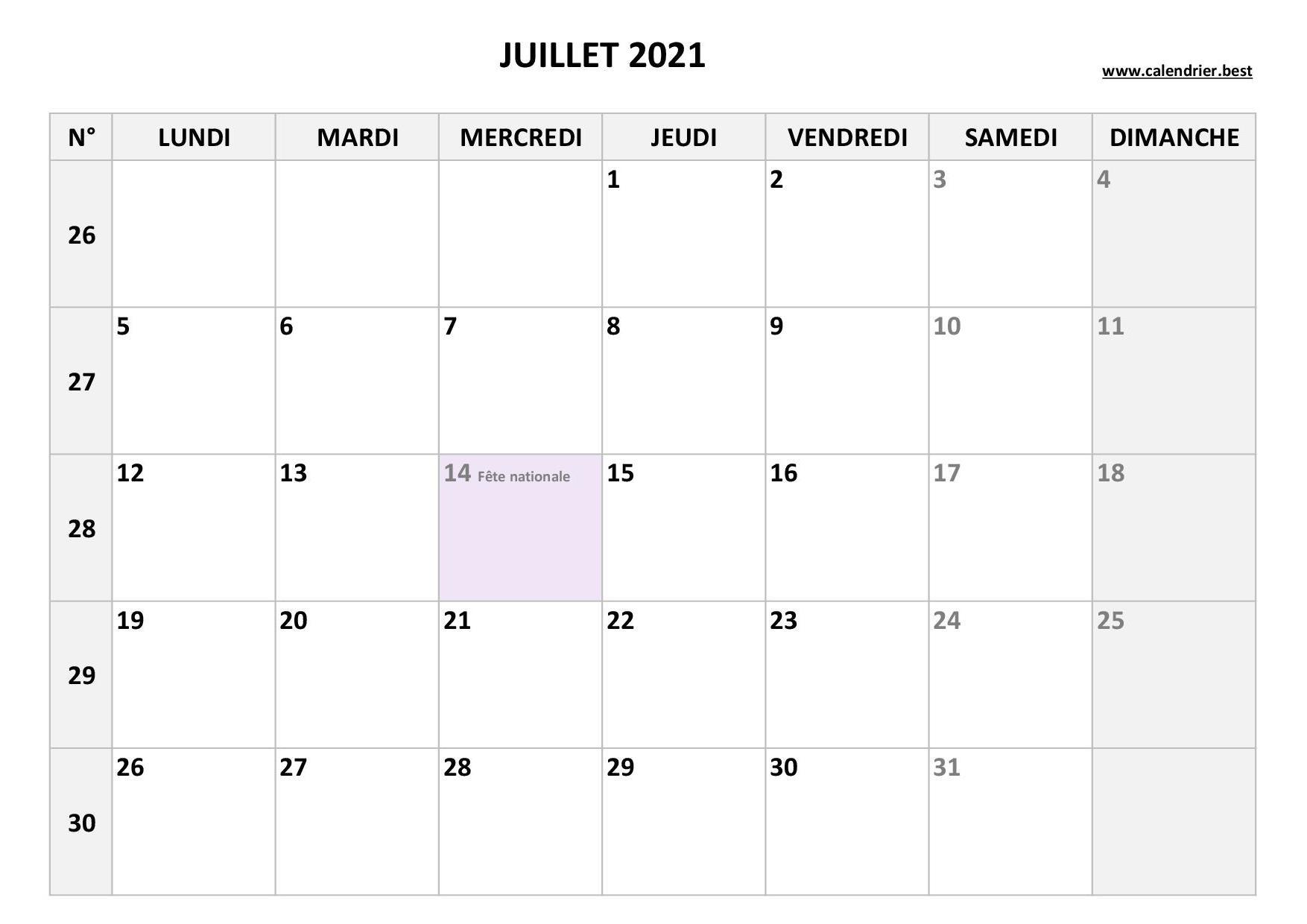 Calendrier Juillet 2021 à consulter ou imprimer  Calendrier.best