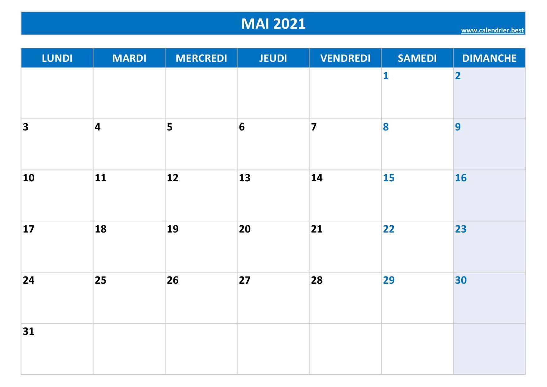 Calendrier 2021 Mois De Mai Calendrier Mai 2021 à consulter ou imprimer  Calendrier.best