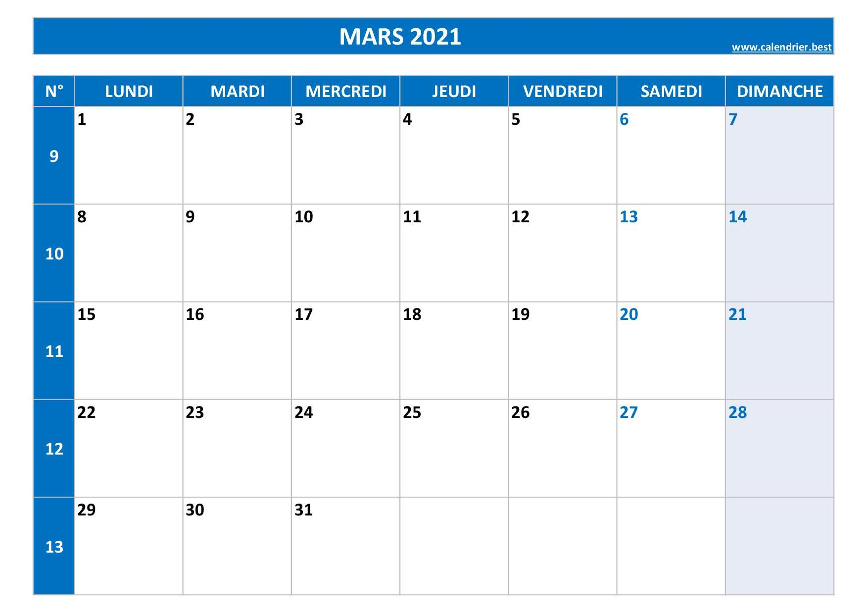 Calendrier Mars 2021 à consulter ou imprimer  Calendrier.best