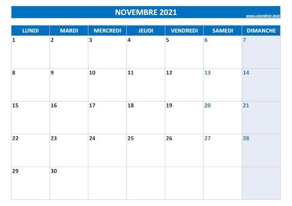 Calendrier Novembre 2021 à consulter ou imprimer  Calendrier.best