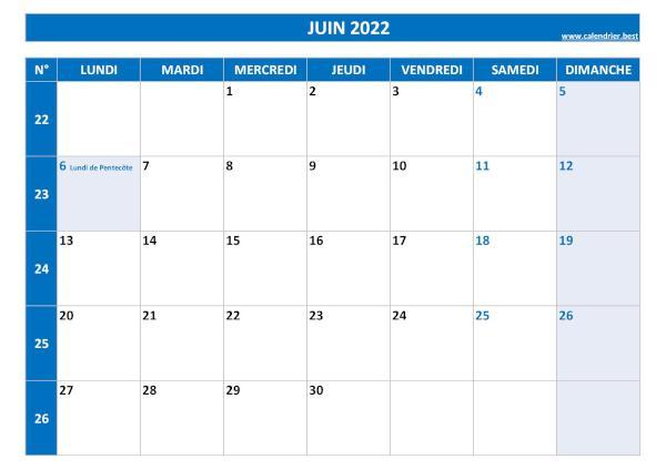 Calendrier Mois De Juin 2022 à Imprimer Calendrier Juin 2022 à consulter ou imprimer  Calendrier.best