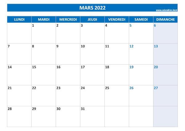 Calendrier Mois Davril 2022 Calendrier Mars 2022 à consulter ou imprimer  Calendrier.best
