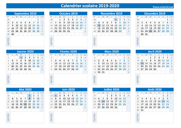 Calendrier Scolaire Vierge 2019 Et 2021 à Imprimer Calendrier scolaire 2019 2020 vierge à imprimer et à compléter