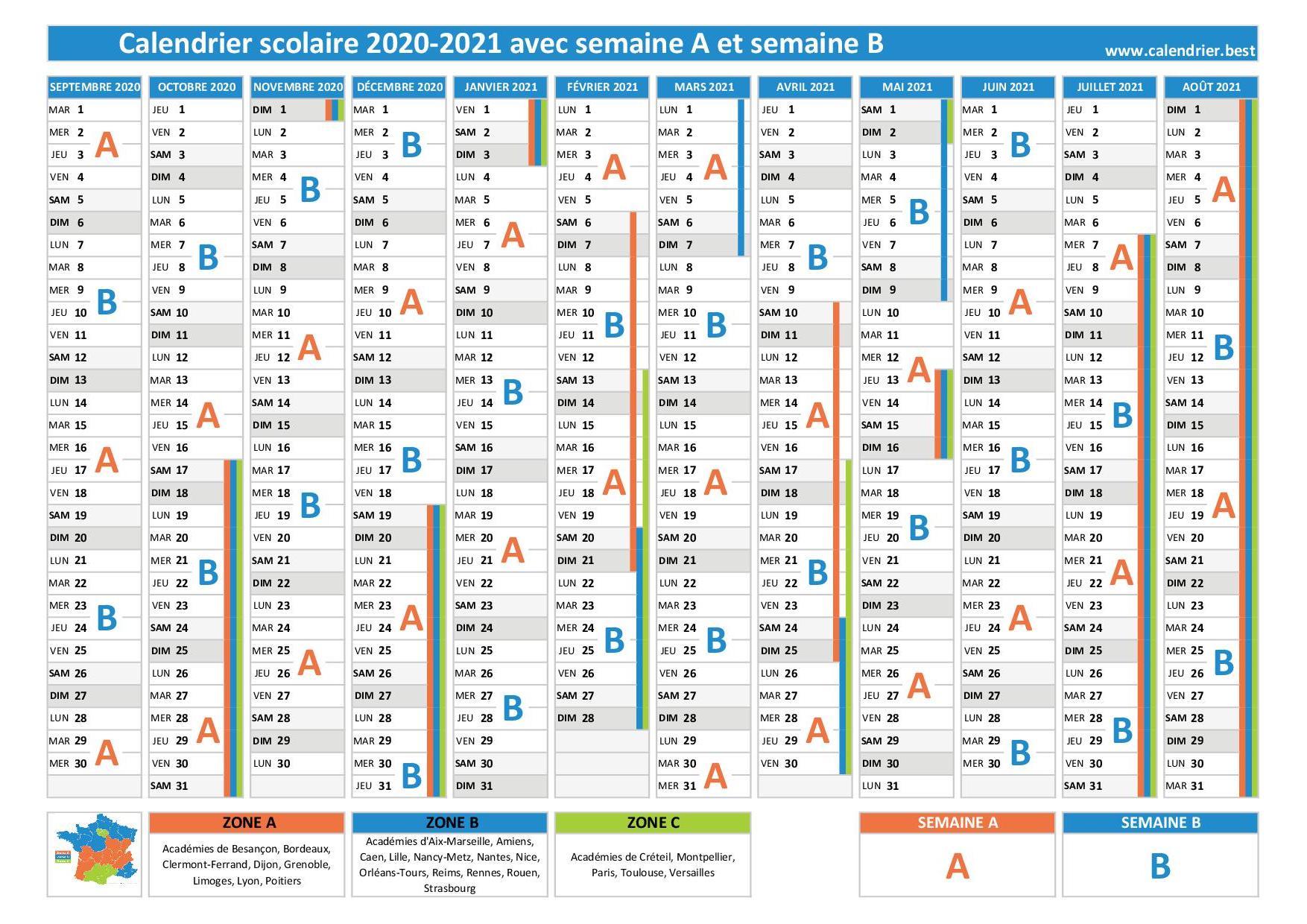 Calendrier Semaine A Et B 2021 2022 Semaine A ou B, calendrier scolaire 2019 2020 et 2020 2021