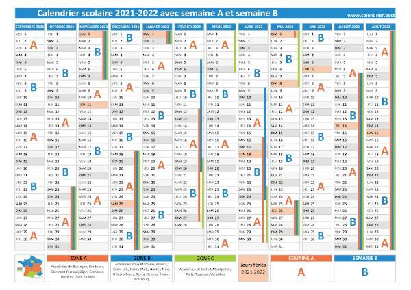 Semaine A ou B, calendrier scolaire 2020 2021 et 2021 2022