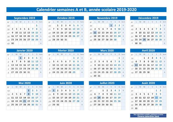 Semaine A ou B, calendrier scolaire 2019 2020 et 2020 2021