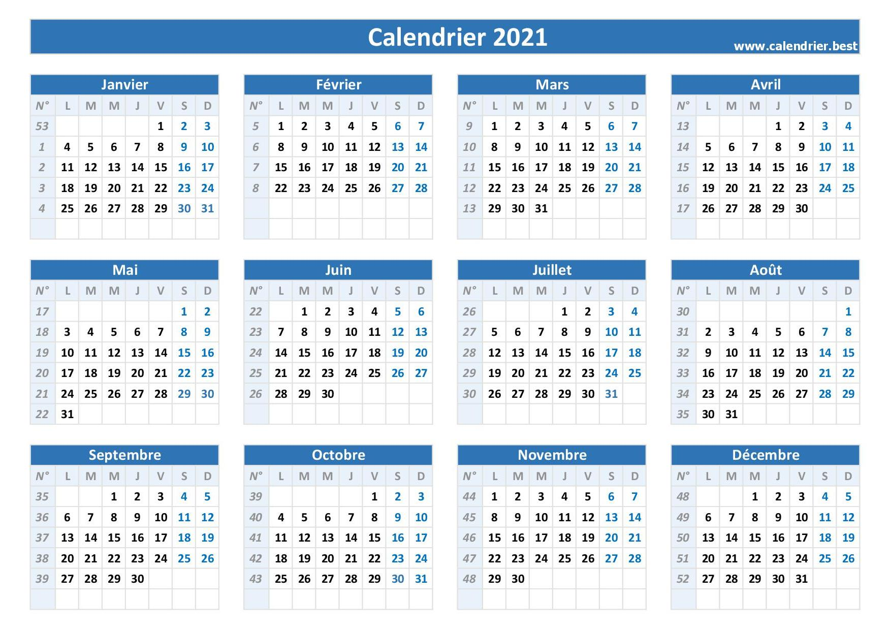 Semaine 1 2021 : dates, calendrier et planning  Calendrier.best
