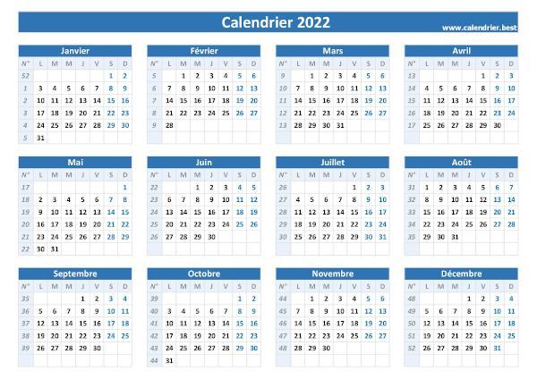 Semaine 2022 Calendrier Numéro de semaine 2022 : liste, dates et calendrier 2022 avec semaine