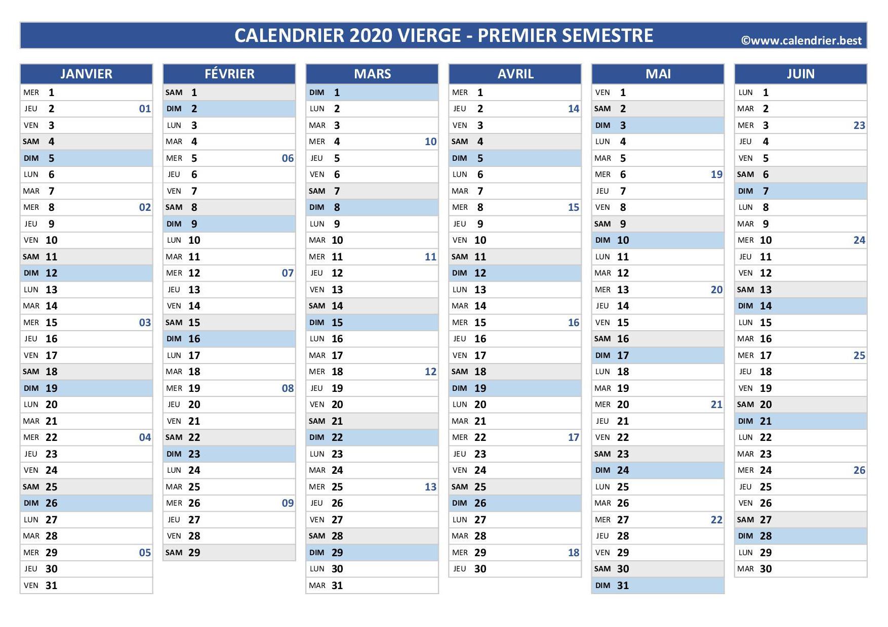 Calendrier 1er et 2ème semestre 2020 à imprimer