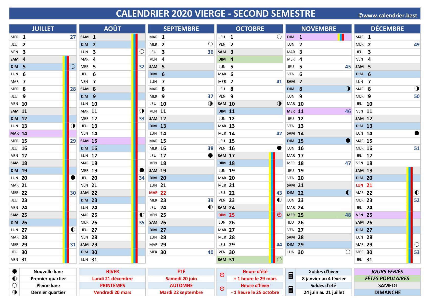 Calendrier Deuxième Semestre 2021 Calendrier 1er et 2ème semestre 2020 à imprimer