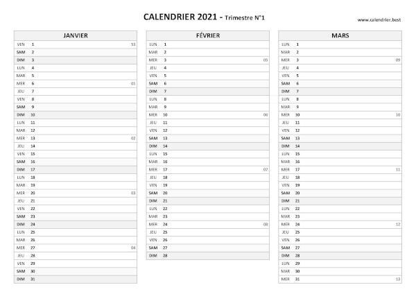 Calendrier 2022 1er Trimestre Calendrier 2021 trimestriel à imprimer